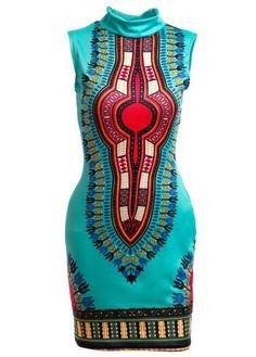 Turquoise African Dashiki Print Sleeveless Hign Neck Bodycon Dress