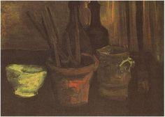 Naturaleza muerta con pinceles en una vasija Vincent van Gogh Óleo sobre tela sobre hoja Nuenen: noviembre, 1884 Colección privada Estados Unidos de América, Norteamérica F: 60, JH: 540