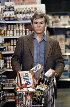 A young Andy Warhol shopping for Campbell's soup, 1965