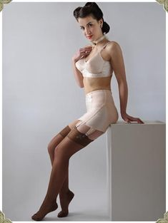 """marydee35: """" My Style!… I love this look. The bullet style bra and a long line 6-strap open bottom girdle with metal claps attached to a pair of silky nylons. """""""