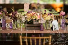 Anna and Spencer Photography, Purple and White Wedding Reception Flowers (with rustic wooden boxes and glass) by Ballonacy in Atlanta.