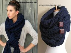 Womens Scarf Eternity Oversized Wool Scarf Convertible Tundra Extra Long Infinity Button Scarf Navy or CHOOSE Your Color Pinterest Favorite