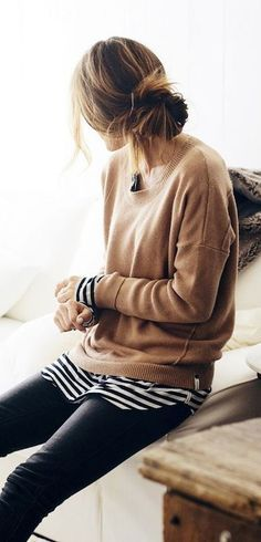 #fall #outfits / knit + stripes