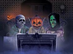 Halloween Artwork, Halloween Drawings, Halloween Pictures, Creepy Halloween, Halloween Horror, Halloween Night, Vintage Halloween, Happy Halloween, Orange