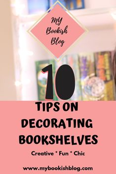 Decorating bookshelves is a fun way to unleash your creativity. Here I have included 10 great tips on decorating bookshelves easily. Decorating Bookshelves, Book Organization, Empty Bottles, Weapon, Earth, Writing, Creative, Face, Tips