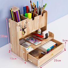 Stationary Storage, Office Free, Desk Organization Diy, Study Room Decor, Storage Rack, Storage Bins, Pen Holders, Wooden Diy, Layout