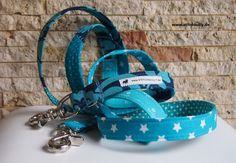 Halsband oder Leine oder Set petrol Liebe von stitchbully.de für Hunde auf DaWanda.com