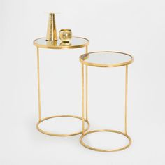 GOLDEN TALL LITTLE TABLES (SET OF 2) - Occasional Furniture - Decoration   Zara Home United States of America