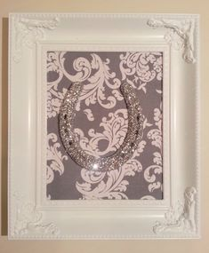Framed Lucky Silver Glittered Horse Shoe by LuckyPonyShop on Etsy,-10% coupon till 8/23/13 ENDOFSUMMER