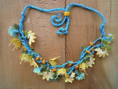 turquoise and yellow flower necklace by PashaBodrum on Etsy