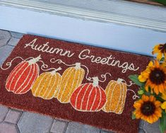 Welcome your friends and family in - while keeping dirt out - with a fun and festive seasonal doormat. Seasonal Decor, Fall Decor, Welcome Mats, Instagram Shop, Happy Fall, Doormat, Porch Decorating, Pumpkins, Festive