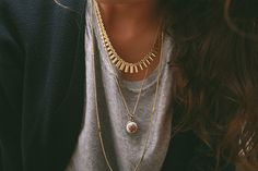 usually not big on jewelry but loving the multi length/layering of the necklaces...