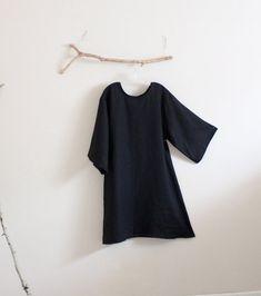 Une robe en lin ligne avec votre choix de longueur de manche réalisé sur commande liste simple