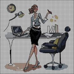 0 point de croix working girl at her office  - cross stitch