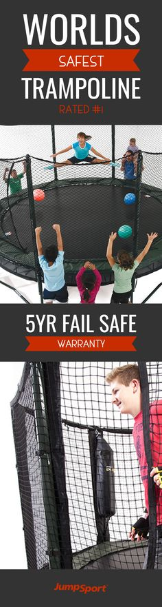 Check out http://www.jumpsport.com/stagedbounce-trampoline to see the world's #1 rated safest trampoline! JumpSport Trampolines are the leading brand for safety, quality, and fail safe guarantee. An outdoor activity for the whole family that's fun, safe, and will keep the family fit for years to come!