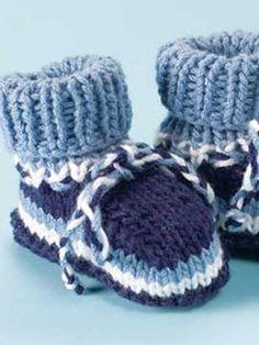 Knitting - Children's Corner - Baby Knitting Patterns - Nautical Striped Booties - #FK00463