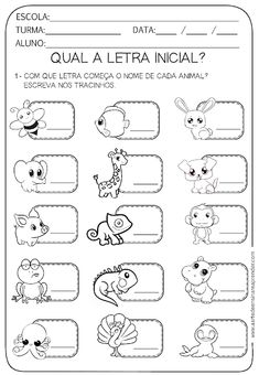 ATIVIDADE PRONTA - LETRA INICIAL - A Arte de Ensinar e Aprender Spanish Lessons For Kids, Learning Spanish, Autumn Activities, Preschool Activities, Activity Sheets For Kids, Letter Worksheets, Speech Language Therapy, Kids Education, Phonics