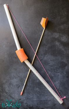 Tutorial for making a toy pvc bow and wooden dowel arrow.  These worked amazingly well, and were a huge hit at the Stampy Minecraft birthday party.
