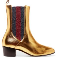 Gucci Metallic leather and textured-lamé Chelsea boots ($780) ❤ liked on Polyvore featuring shoes, boots, ankle booties, red boots, square toe boots, leather boots, red ankle booties and navy blue booties