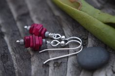 Stack earrings sterling silver Greek ceramic beads by silverpirate, $19.00