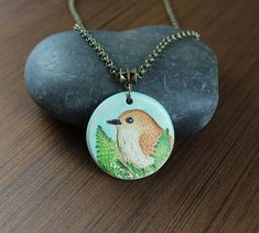 Rustic Romantic  Little Brown Bird  pendant necklace by KLFStudio