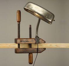 Antique Hubbell Lamp Laboratory Clamp Vintage Light Banker S Desk Antique Labline Brass Hunter