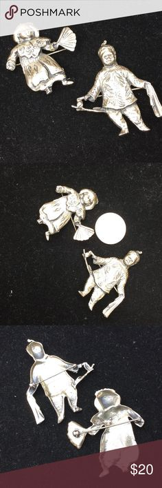 "Vintage '40's silver plate pins..Collectors? This pair of Asian inspired pieces appear to be cast pewter, silver plating, I'm guessing.  She's holding a fan, he a rag, w a branch w a bird on it...fairly good detail, can't find any info...they need ""antique's Roadshow""!! Jewelry Brooches"