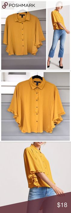 """💕HP💕Forever 21 Angel Sleeve Top NWT 4.12.18 HOST PICK  A woven top defined by ruffle-trim angel sleeves, featuring button-front closures, a basic collar, and a billowy silhouette. 97% polyester 3% Spandex  Full length: 20"""" Chest: 32"""" Sleeve length: 11.5""""  ✨BUNDLE 2+ FOR 10% DISCOUNT ✨COMMENT FOR QUESTIONS Forever 21 Tops Blouses"""