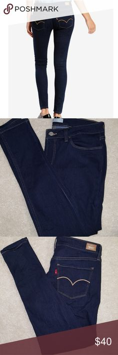LEVIS 535 SUPER SKINNY JEAN  The classic look of a jean meets the easy comfort of a legging.   Sitting just below the curve of your waist and made from soft blended fabric, the 535™ keeps you comfy while relaxed.   ORDERED THESE ONLINE, THEY DIDN'T FIT WELL.  ☆ONLY WORN ONCE!! NO WARE TO NOTE☆  TIGHT FIT. SMALL IN THE LEGS Levi's Jeans Skinny