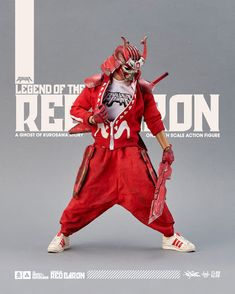 """""""Legend of The Red Baron"""" - Ghost of Kurosawa by Quiccs x Devil Toys X Flabslab for Oct Drop Cyberpunk Character, Cyberpunk Art, Action Figure One Piece, Character Art, Character Design, Game Logo Design, New Animal Crossing, Samurai Art, Face Characters"""