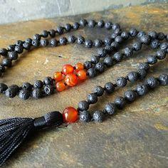 Boho~Tassel~Mala~Yoga Style Essential Oil Diffuser Necklace: Orange Agate Semi-Precious Gemstone & Lava 6mm Bead L039