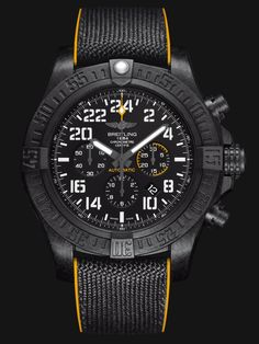 The superlative-charged Breitling Avenger Hurricane flaunts a standout 50 mm diameter, an ultra-sturdy and ultra-light case in Breitlight® (a world premiere) and an all-black look enhanced by yellow accents and aviation-inspired stencil-type numerals. Selfwinding Manufacture Breitling Caliber B12 dr...