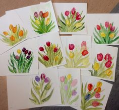 Watercolours Tulips Mother's Day Card Teaching Art, Watercolours, Tulips, Cards, Maps, Tulip, Playing Cards
