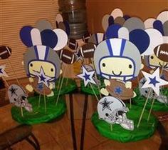 Dallas Cowboys party centerpieces for kids Cowboy Party Centerpiece, Cowboy Theme Party, Cowboy Birthday, Football Baby Shower, Cowboy Baby Shower, Baby Boy Shower, Cheap Baby Shower, Elegant Baby Shower, Baby Shower Themes