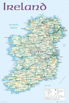 Map of Ireland Poster 24 x 36in