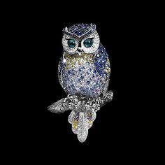 Mousson Atelier, collection Eden - Owl, brooch, White gold 750, Multicolored sapphires, Diamonds, Green tourmaline