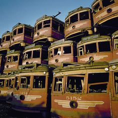 LA's Red Cars waiting for demolition in Gas buses replace electric street cars. Abandoned Train, Abandoned Buildings, Abandoned Houses, Abandoned Places, City Of Angels, Train Tracks, Urban Decay, The Past, Old Things