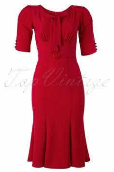 Fix the neck (no tie). Start the skirt flare sooner?   (Stop Staring! - 40s Classy Rouge Pencil Dress)