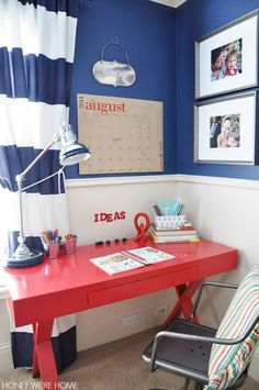 """Back to school ready with an organized """"homework"""" desk area."""
