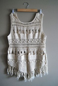 RESERVED FOR: christina yother  The Fringe - Vintage Boho White Crochet Tassel Fringe Tank Top