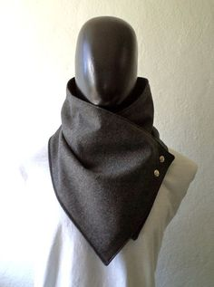 Men scarf. Men cowl,Wide, Dark grey wool with metalic snaps . Trendy, modern, chunky  and cozy.