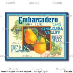Pears Vintage Crate Art Recipe Cards