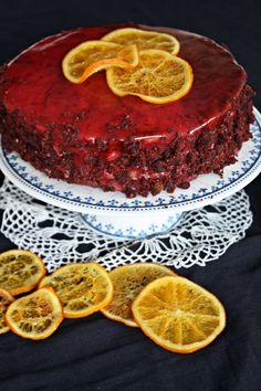 Red&brown velvet cake z kremem pomarańczowym i polewą lustrzaną