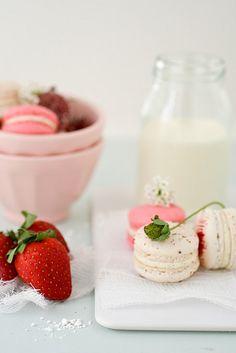 Strawberry & Vanilla Bean Macarons