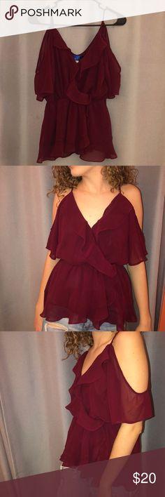 Maroon Short Sleeve Dress Shirt! NEVER WORN! Maroon shirt from Francesca's Bou... Maroon Dress, Short Sleeves, Short Sleeve Dresses, Dresses With Sleeves, Blue Rain, Dress Shirt, Going Out, Business Meeting
