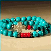 Turquoise and Sterling Silver Imani Bracelet Set! {RED} One of a Kind! The Colors of Turquoise Collection http://www.rltcollection.com