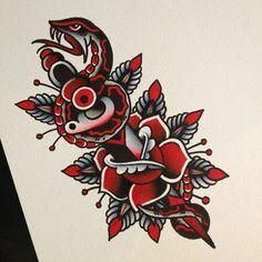 #traditional #tattoo #snake #rose #dagger