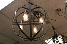 Industrial Sphere Chandelier Metal strap Globe Hanging Light with 4 Thomas Edison Bulbs Wine Barrel Orb Globe Chandelier Hanging Sphere. Industrial Chandelier, Globe Chandelier, Chandelier Lighting, Home Lighting, Modern Lighting, Lighting Ideas, Blown Glass Pendant Light, New Bathroom Ideas, Frame Light