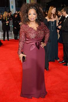 New Arrival!! Burgundy Long-sleeve Lace Chiffon Celebrity Dress Oprah Winfrey 2014 BAFTAs Red Carpet Gown Evening & Party Gowns