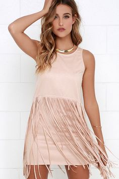 Blush Fringe Suede Dress